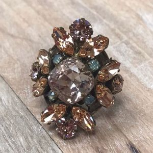 Sorrelli Large Apricot Crystal Statement Ring,NWT